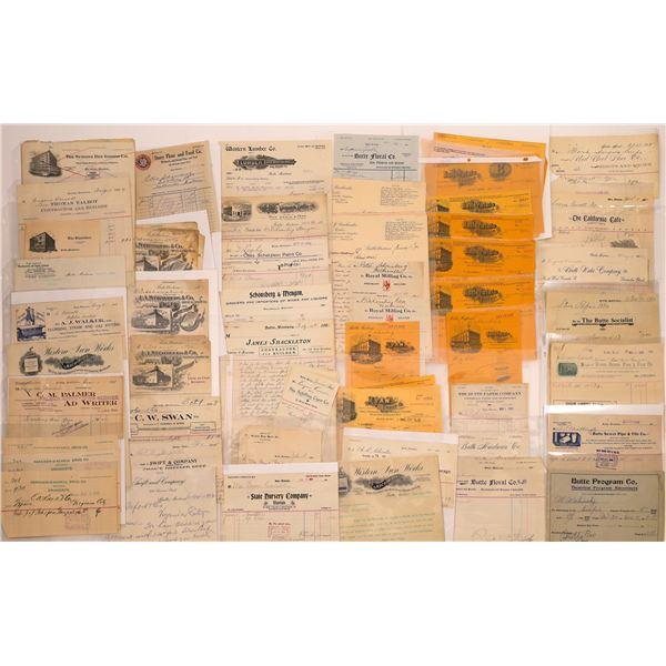Butte Billheads, Letters, Receipts (Approx. 90)  [128980]