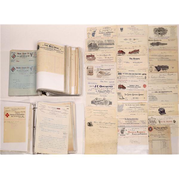 Butte, Montana Letterheads, Billheads & Letters (Approx. 250)  [128989]