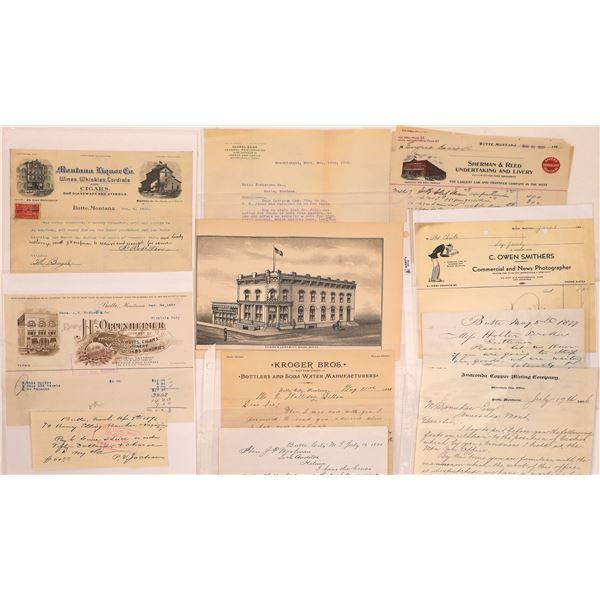 Butte Letters & Billheads (10)  [128976]