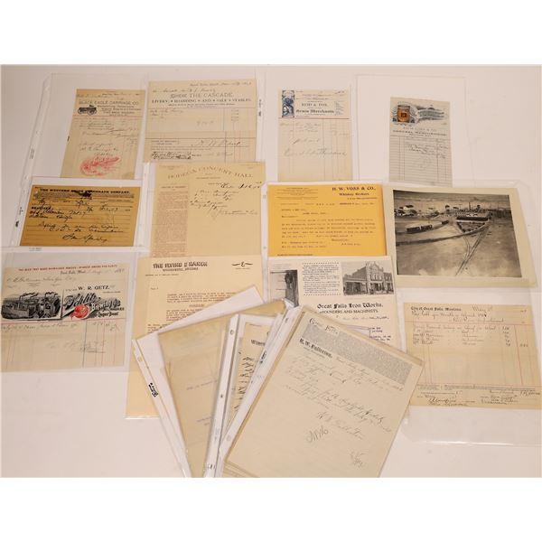 Great Falls Assorted Handwritten Transaction Receipts & More (25)  [128190]