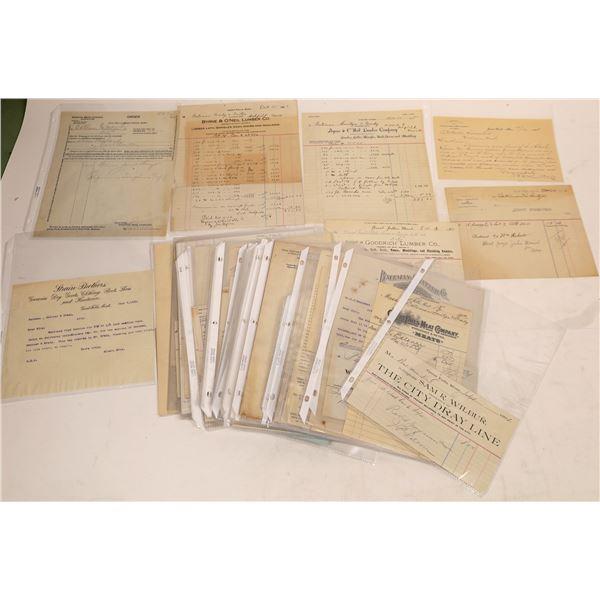 Great Falls Assorted Receipts, Letters & Billheads (90)  [128193]