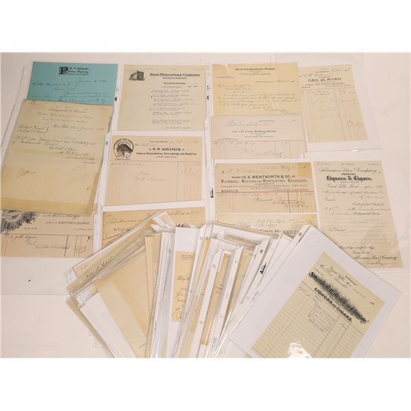 Business Receipts and Billheads From Great Falls Businesses (100)  [128191]