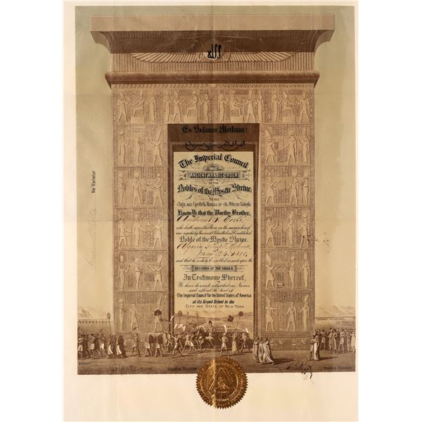 Patent for Andrew B. Porter of the Noble Order of the Mystic Shrine   [139718]