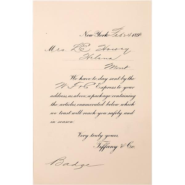 Tiffany & Company 1893 Receipt for Badge  [140528]