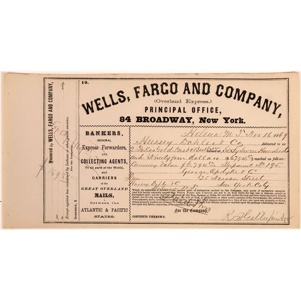 Wells Fargo Receipt for Helena Gold Shipment  [138034]