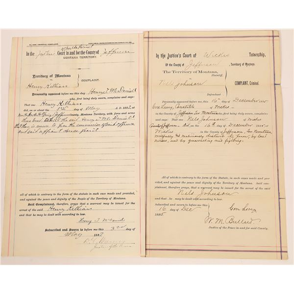 Two Montana Territory Court Documents  [140491]
