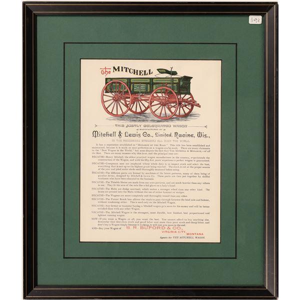 Mitchell Wagon Company Broadside in Elegant Frame  [139641]