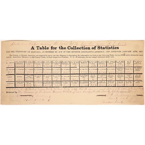 Montana Vital Statistic Table for 1872  [127016]
