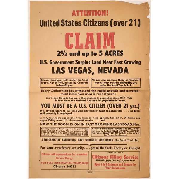 Rare Las Vegas Broadside 1960  [138392]