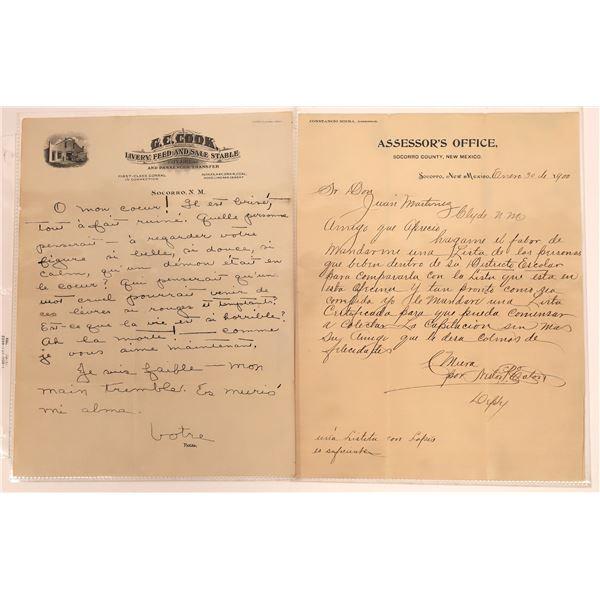 Socorro, NM Assessor's Office Handwritten Letter  [140484]