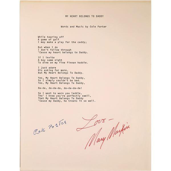 Cole Porter/Mary Martin Signed Lyrics  [131728]