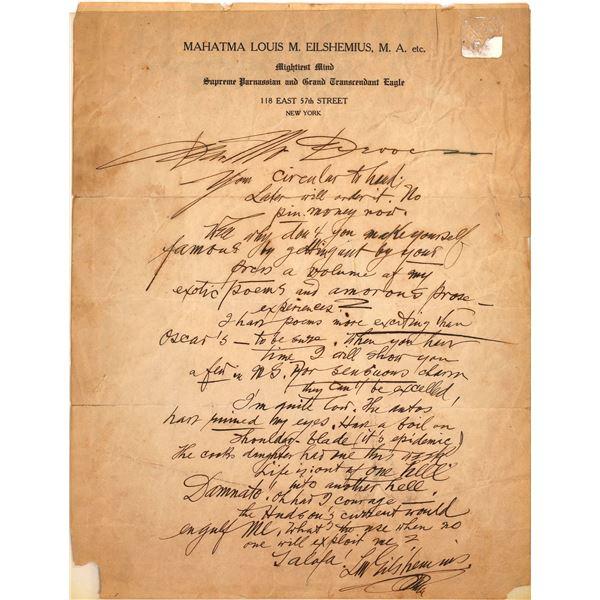 Louis Michel Eilshemius Handwritten Letter  [137985]