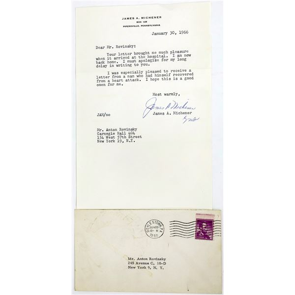 Letter Signed by James A. Michener  [128253]