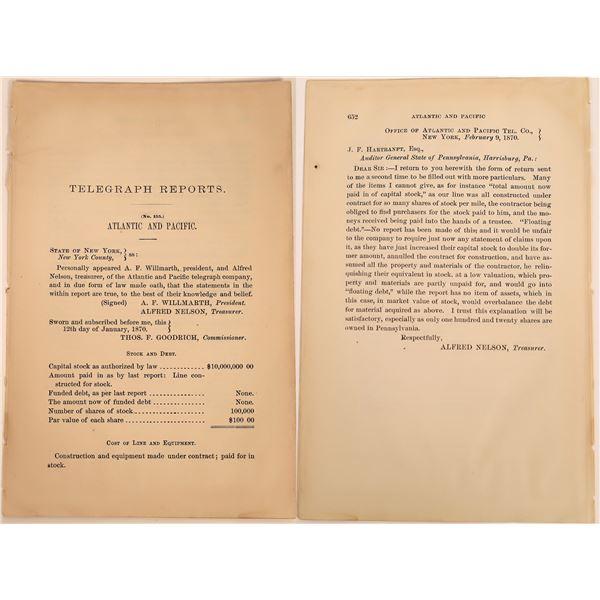 Telegraph Report of the Atlantic and Pacific Telegraph Company, 1870  [130552]