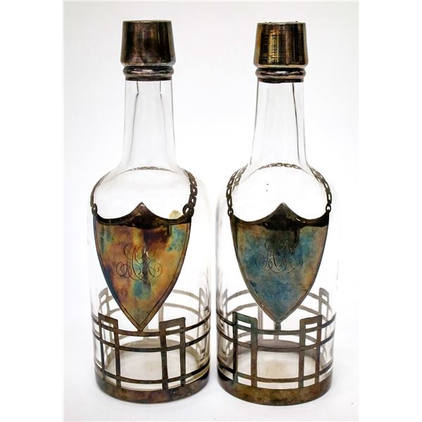 Matching Pair of Silver-Plated Bar Bottles  [138425]