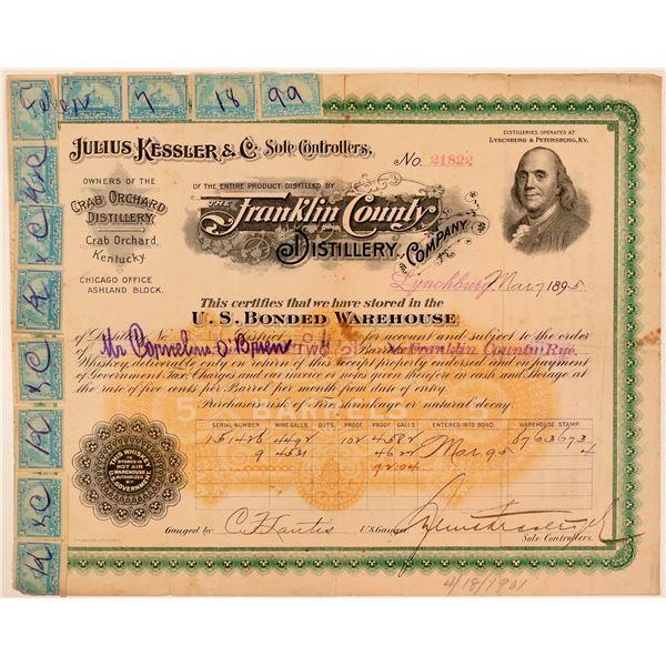 Julius Kessler & Co. Whiskey Distillery Warehouse Certificate  [107768]