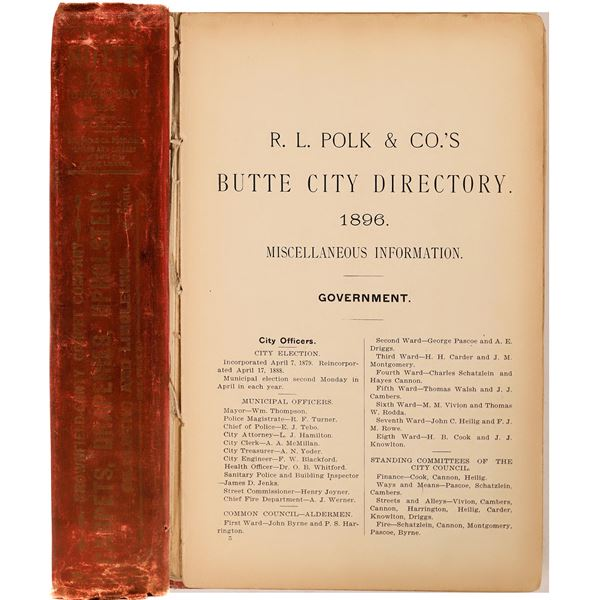 1896 Butte City Directory  [139617]