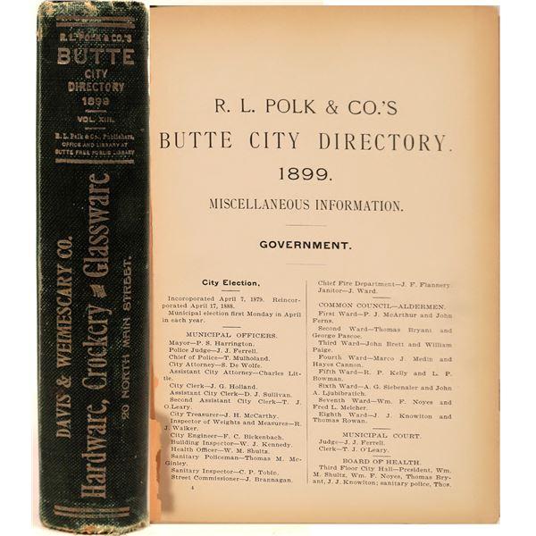 Polk City Directory of Butte, MT. 1899  [139615]
