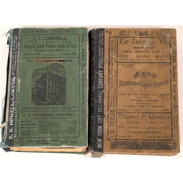 Two Early 20th Century Butte, MT City Directories (2)  [139570]