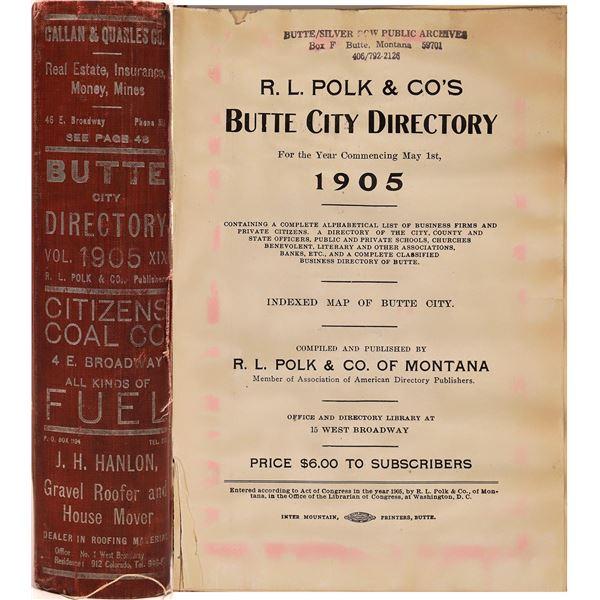 1905 Butte, MT City Directory  [139573]
