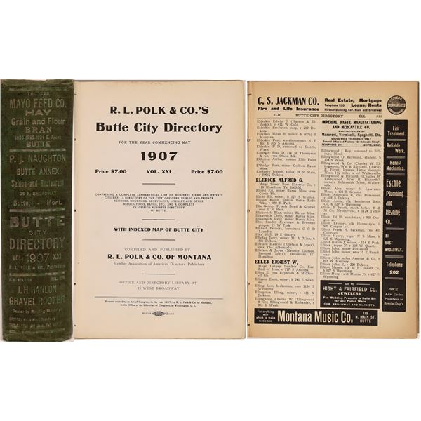 Butte, MT 1907 Business Directory  [139574]