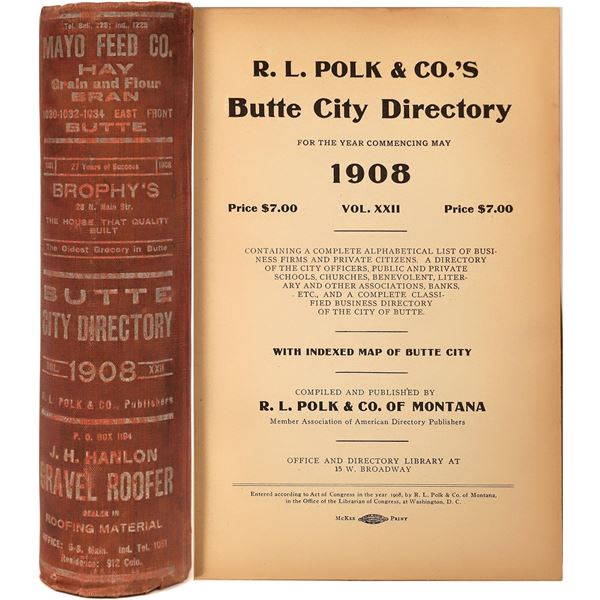 City Directory for Butte, MT from 1908  [139591]