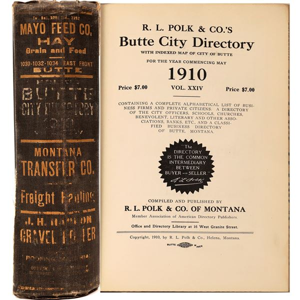 Polk 1910 City Directory for Butte, MT.  [139577]