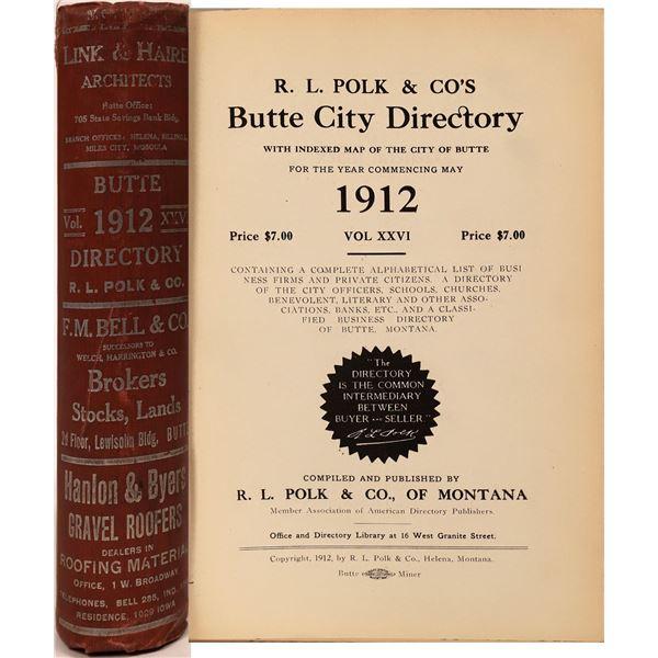 Polk 1912 City Directory for Butte, Montana  [139580]