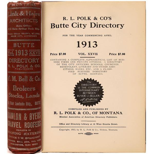 Polk 1913 Butte City Directory  [139575]