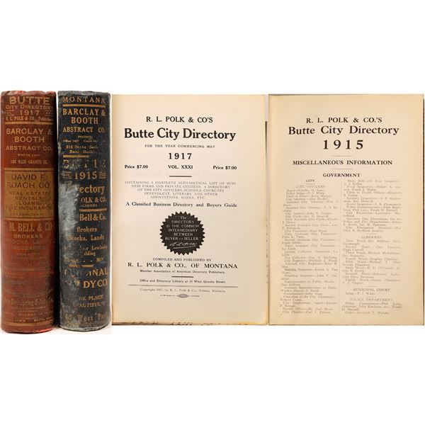 Butte, MT. Directories for 1915 & 1917  [139563]