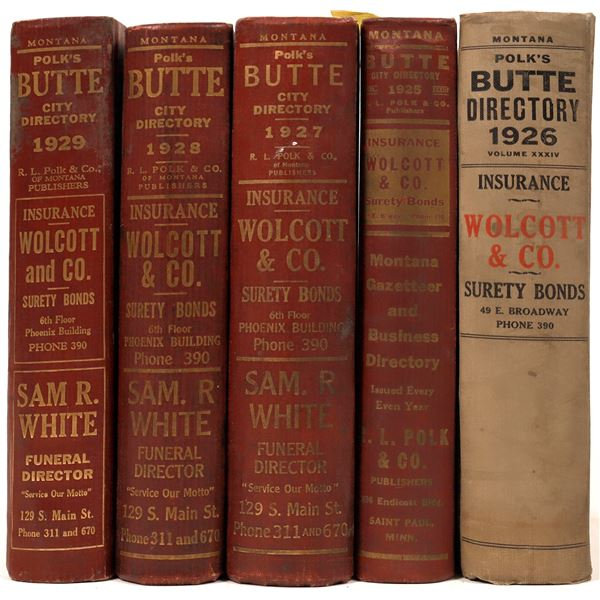 Polk 1920's Directories for Butte, MT (5)  [139596]