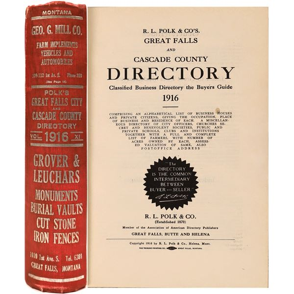 Great Falls & Cascade County Directory 1916  [139621]
