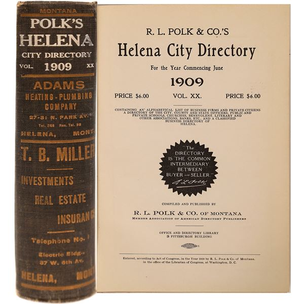 Helena MT. 1909 City Directory  [139592]