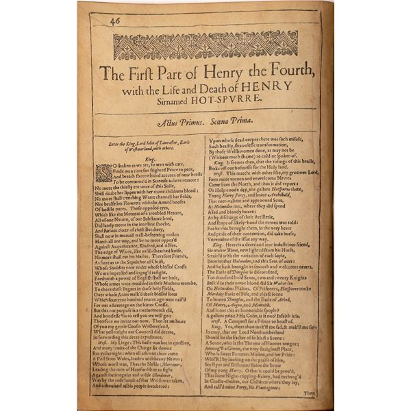 """Shakespeare Original First Folio Fragment, """"The First Part of Henry the Fourth""""  [140720]"""