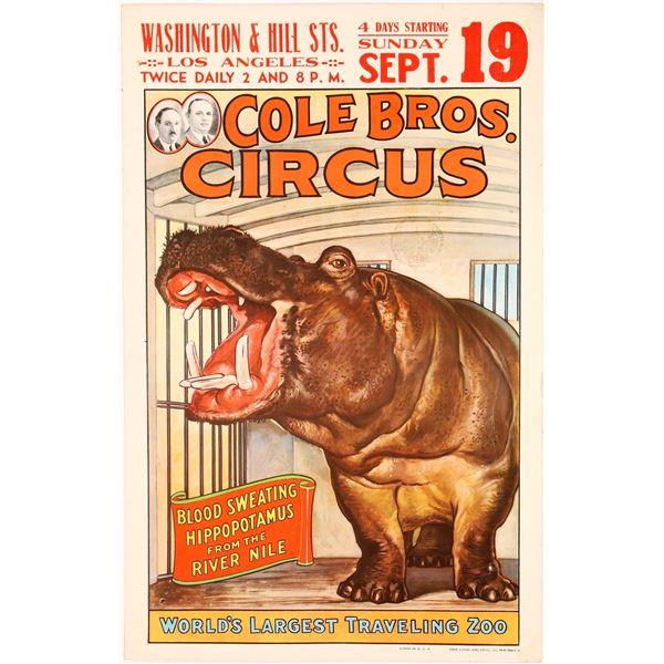Cole Bros. Circus Hippo Poster  [128092]