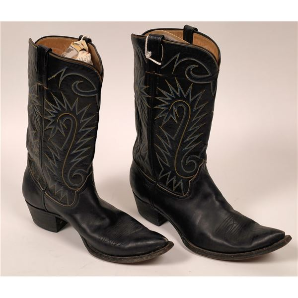 Cowboy Boots, Black Leather, Unbranded  [129405]
