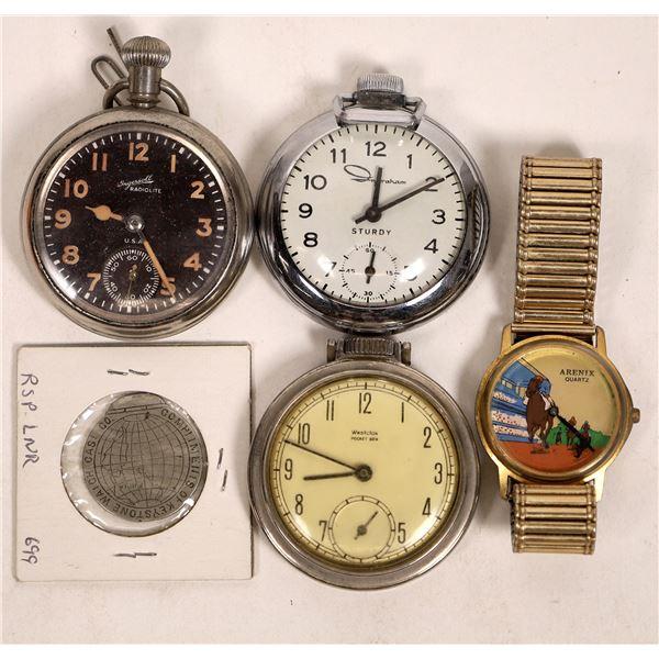Keystone Watch Company Columbian Exposition Token/Three pocket watches/Horse Racing Wristwatch  [136