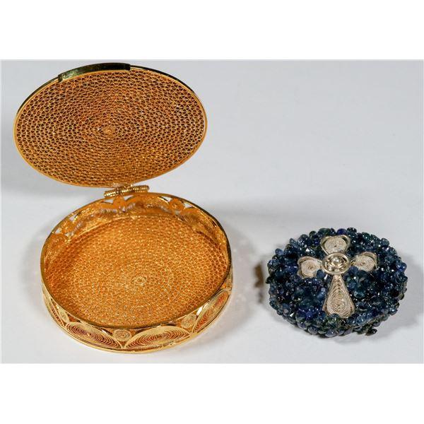 Bejeweled Silver Filigree Cross in Gold Filigree Box  [140395]