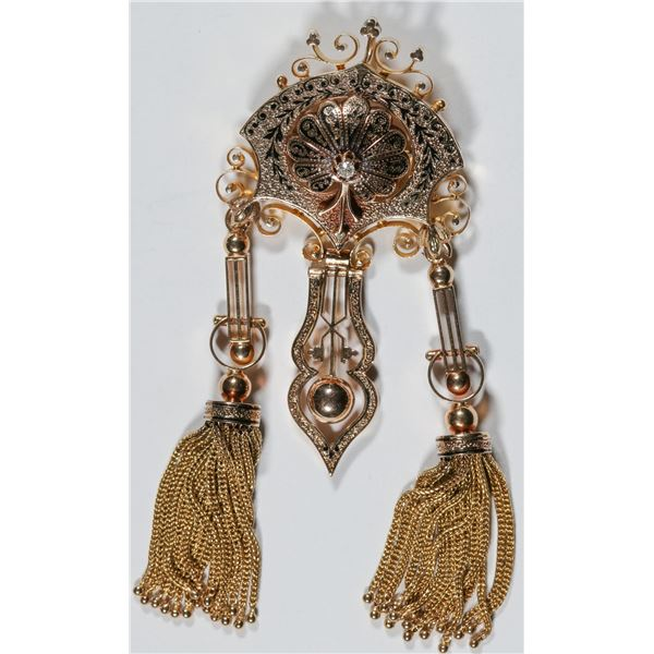 Brooch, 14-18K Gold in Art Deco Style  [140397]