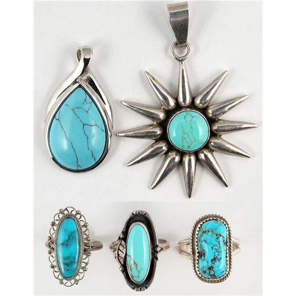 Turquoise Rings - 3, and Pendants - 2  [138338]