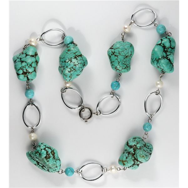 Turquoise-Colored Necklace with Six Large Stones (Howlite?)  [138336]
