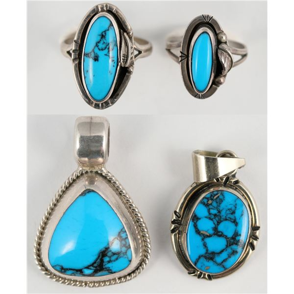 Two Rings, Two Pendants, Deep Blue Stones  [138339]
