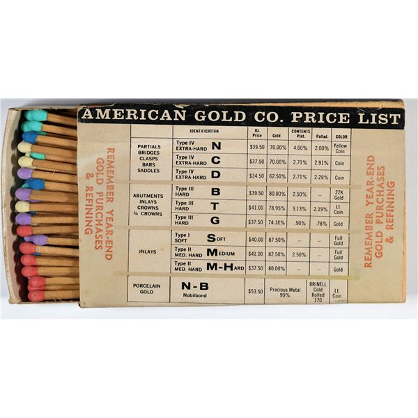American Gold Company Price List Matchbook  [137886]