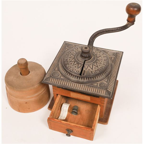Antique Butter Mold and Imperial Mill Coffee Grinder c.1900  [140022]