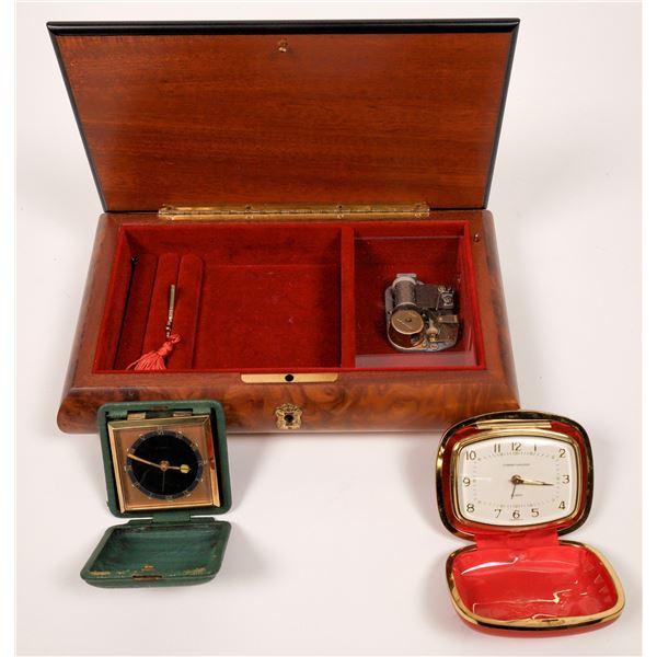 Inlaid Jewelry Music Box and Two Travel Clocks  [138595]