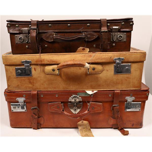 Vintage Chinese Leather Luggage Set  [139656]