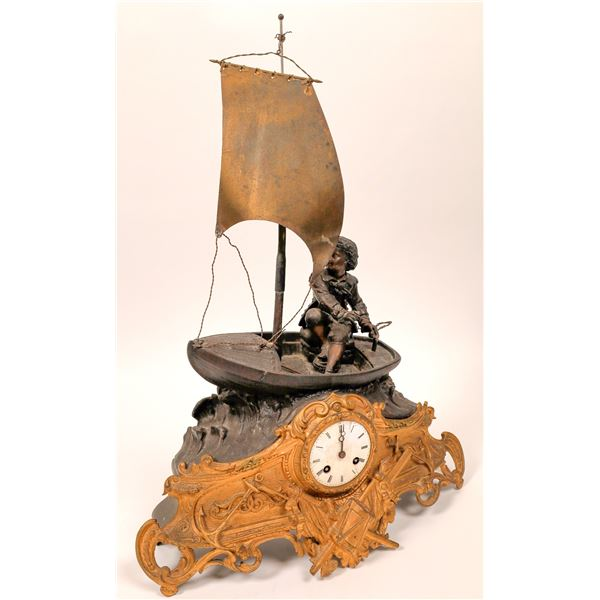 Clock with Boy on Boat and Apollo Sun God Sculpture  [129404]