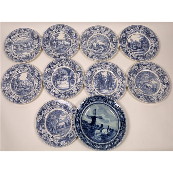 Wedgwood and Royal Delft Blue Holland Plates (10)  [139505]