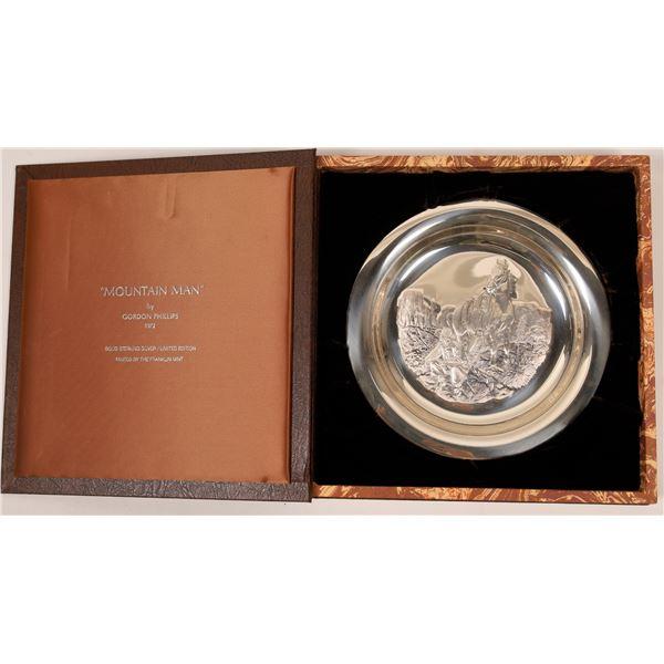 Franklin Mint Western Sterling Silver Plate, Mountain Man by Gordon Phillips  [138592]