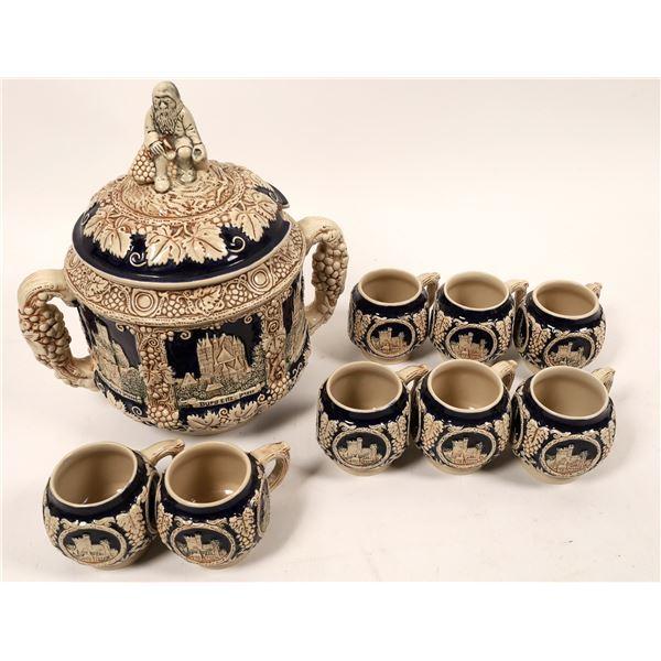Stoneware German Gluehwein Bowl & Cups  [139354]